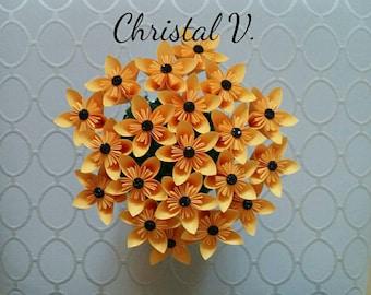 Kusudama flowers / individual / goldenrod with black shiny centers / black eyed Susan's