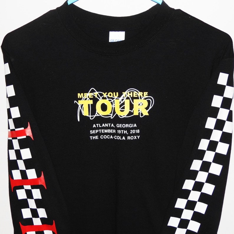 8c65bc7ce34 Checkered Long Sleeve Meet You There Customized Tour Shirt