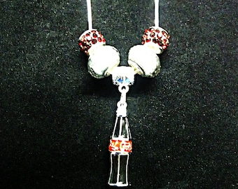 """Classic Old Fashion Coke a Cola Bottle Charm Pandora Style 9.25 Silver Plated 20"""" Necklace"""