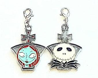 Nightmare before Christmas Santa Jack heads enamel Tibetan silver earrings