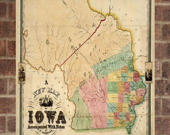Iowa Map Etsy - Vintage iowa map