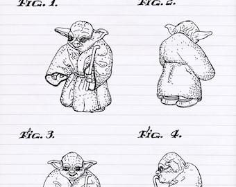 Yoda blueprint art etsy more colors malvernweather Gallery