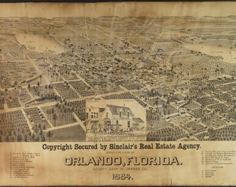 Map Of Orlando Florida.Orlando Etsy