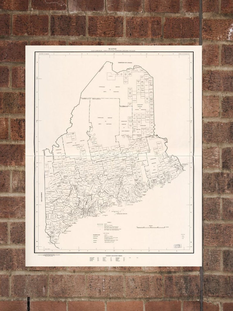 Old Maine Map.Vintage Maine Photo Maine Map Aerial Maine Photo Old Maine Etsy