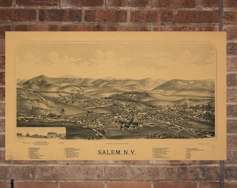 Vintage Salem Photo, Salem Map, Aerial Salem Photo, Old Salem Map, Salem Artist Rendering, Salem Poster, NY Artwork