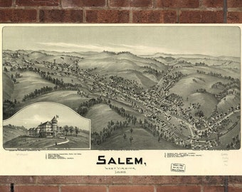 Vintage Salem Photo, Salem Map, Aerial Salem Photo, Old Salem Map, Salem Artist Rendering, Salem Poster, WV Artwork