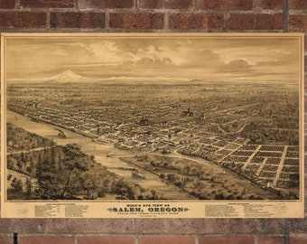 Vintage Salem Photo, Salem Map, Aerial Salem Photo, Old Salem Map, Salem Artist Rendering, Salem Poster, OR Artwork