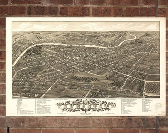Vintage Youngstown Photo, Youngstown Map, Aerial Youngstown Photo, Old Youngstown Map, Youngstown Art Rend, Youngstown Poster, OH Art