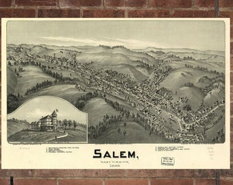 Vintage Salem Photo, Salem Map, Aerial Salem Photo, Old Salem Map, Salem Artist Rendering, Salem Poster, VA Artwork