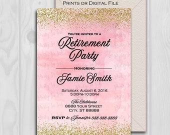 Retirement party invitations etsy retirement party invitation pink and gold gold glitter 5x7 prints or digital file stopboris Images