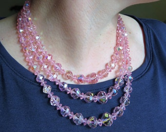 Beautiful Vintage 1950s Pink Three Strand Crystal Necklace & Earrings