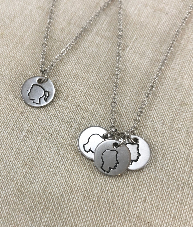 silver Son Grandmother Grandchildren Personalized Silhouette Stamped Necklace Mothers Gift Blessed Beyond Measure Daughter Children