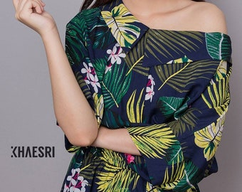 Summer dress with tropical print