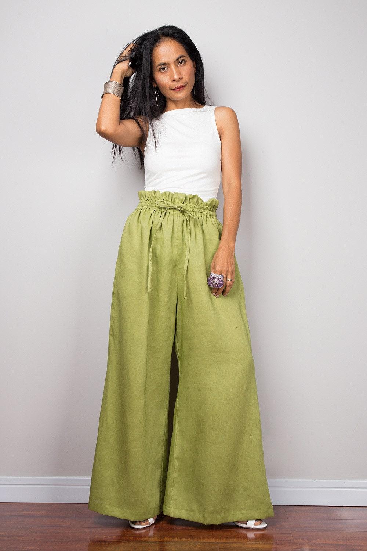 63c2c1bdf3f4 Handmade green linen long wide leg palazzo pants with pockets.