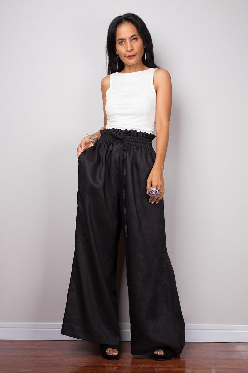 3c18b01313ec Black Linen pants Handmade long wide leg palazzo pants with