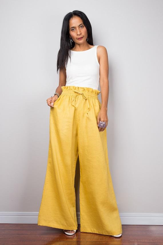 1756fb8fc8cf Linen pants Handmade yellow long wide leg palazzo pants with