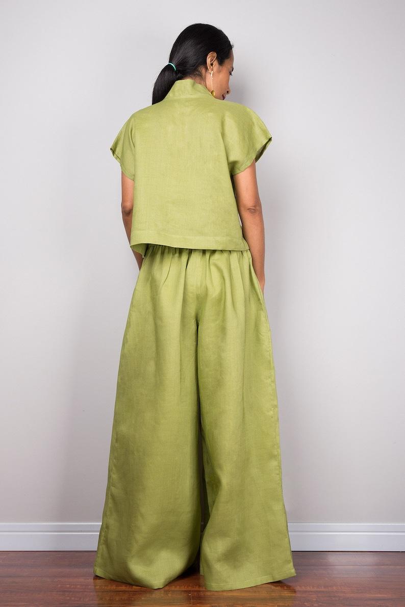 d5fb082ad95f Handmade green linen long wide leg palazzo pants. Olive green