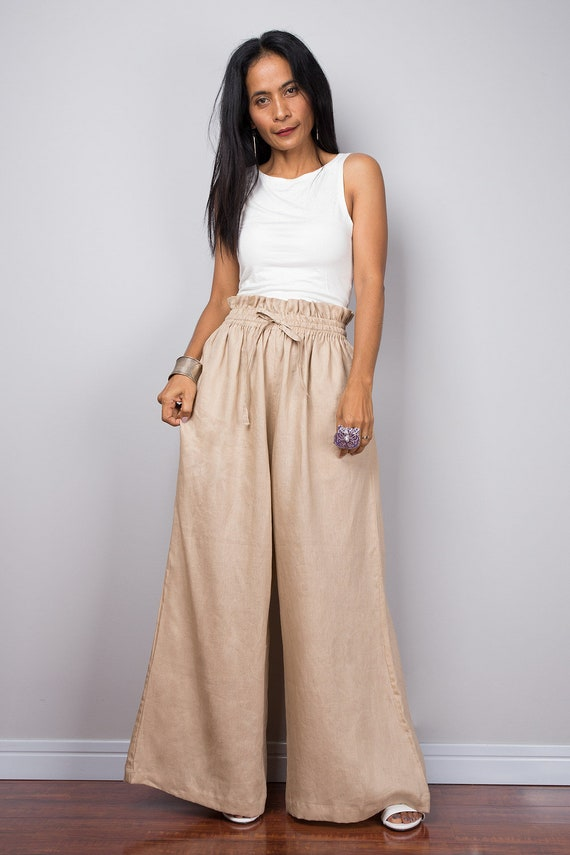 251cea517cc9 Handmade natural linen long wide leg palazzo pants with