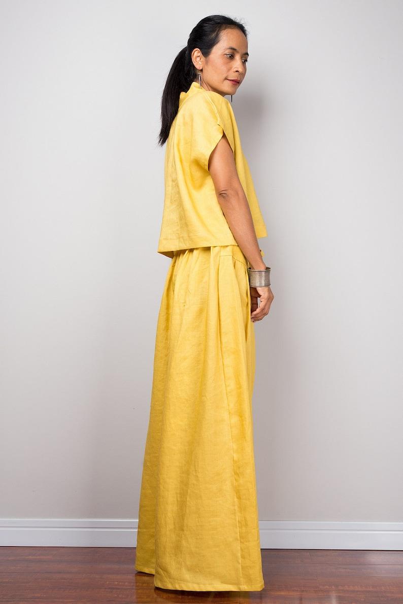 b17e11fcef7f Handmade yellow natural linen long wide leg palazzo pants.