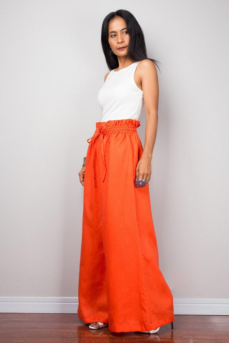 b62d4f01d9da Linen pants Handmade orange long wide leg palazzo pants with