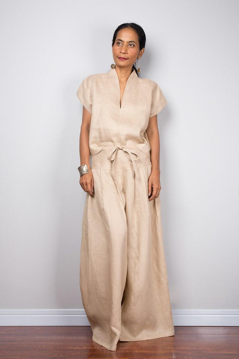 eb749fa94d3d Handmade natural linen long wide leg palazzo pants. Beige