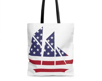 Bags and Purses - Beach Tote, Beach Bag, Tote Bag, Sail Boat Stars and Stripes - Strong Sturdy Durable Tote