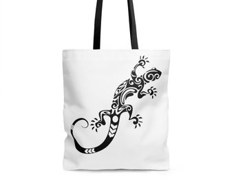Bags and Purses - Beach Tote, Beach Bag, Tote Bag, Tattoo Lizard Design Strong Sturdy Durable Tote