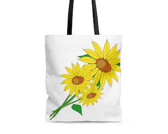 Bags and Purses - Beach Tote, Beach Bag, Tote Bag, Sunflower Design - Strong Sturdy Durable