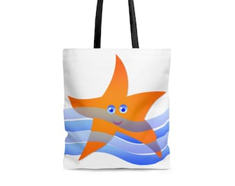 Bags and Purses - Beach Bag, Beach Tote, Carry All Tote - Starfish Design - Strong Sturdy Durable Tote Bag