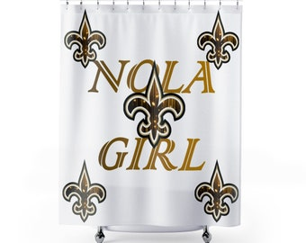 New Orleans Nola Girl White Shower Curtains