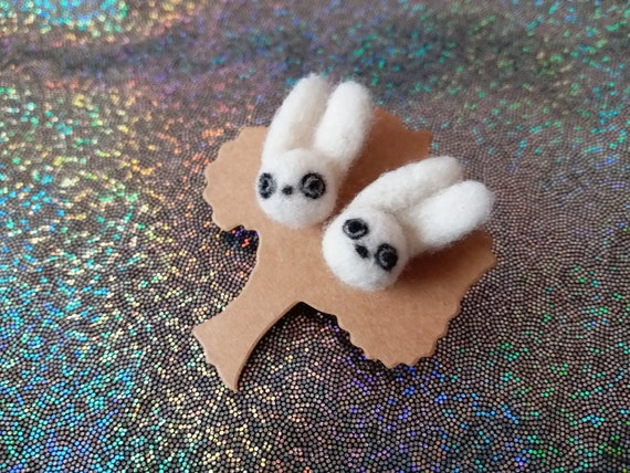 Cute Gothic Jewelry Pastel Goth Fluffy Bunny Rabbit Earrings Etsy