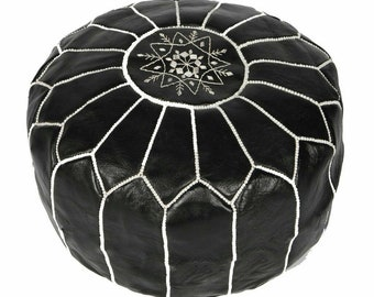 Black Leather Ottoman Pouf, Pouffe Footstool, Round Floor Pouf Seating, Moroccan Stool, Genuine Leather Floor Seat Cushion Cover