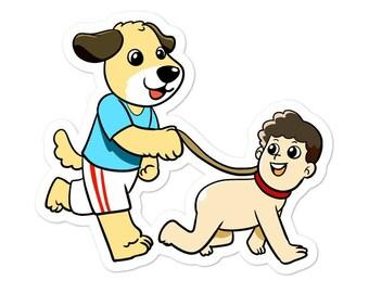 Dog Walking Human Sticker