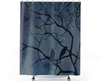 Night Bird Shower Curtains Galaxy Bird Shower Curtain Watercolor Shower  Curtain Raven Shower Curtain Bird Silhouette Watercolor Painting
