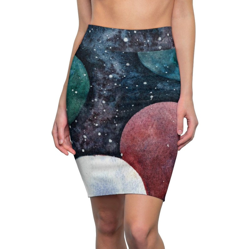 Stylish galaxy /& alien planet art pencil skirt Cosmic space skirt Gift for sci-fi lovers and astronomy students.
