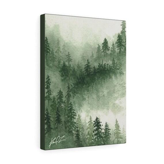 Deep Green Foggy Forest Watercolour Wall Art Misty Forest Watercolor Painting Print Misty Mountain Print Pine Green Alpine Forest Print