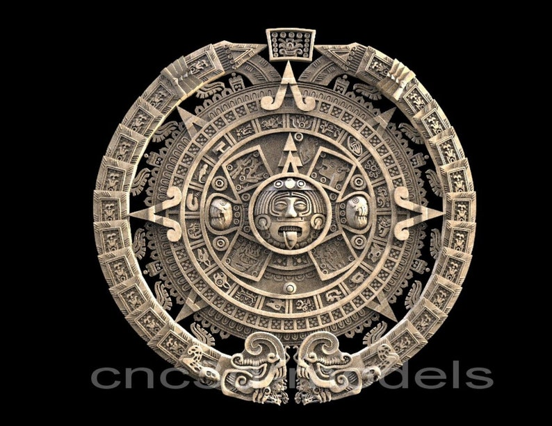 3D STL Model for CNC Router Engraver Carving Machine Relief Artcam Aspire  cnc files Aztec Maya Aztecs Calendar 180