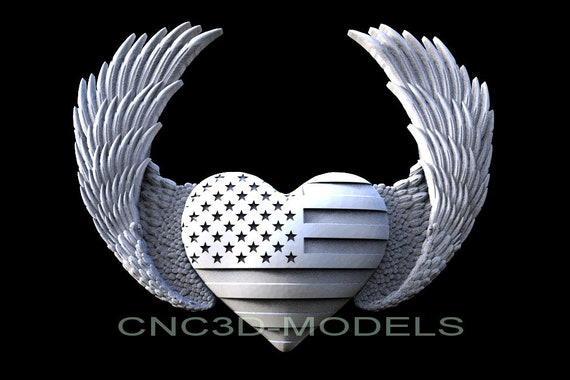 3D STL Model for CNC Router Carving Artcam Aspire USA Flag America Eagle D631