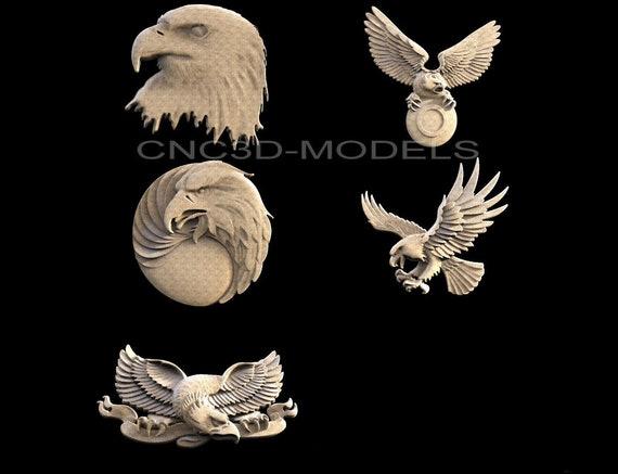 3D STL Model for CNC Router Engraver Carving USA Eagle American Bird Flag D20