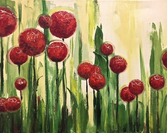 Abstract Painting Abstract Art Oil Painting Original Art Wall Art Red Flowers Flower Painting Spring Flowers Gift for Mom Birthday Gift