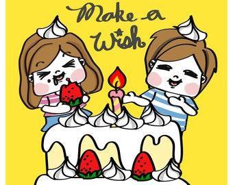港妹。生活明信片/ 生日卡 Kong Mui Birthday Postcard/ Greeting card
