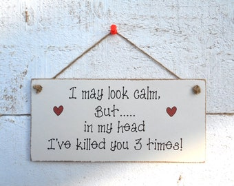 I May Look Calm ......! Hanging Plaque/Sign