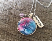 Fearless Pendant Tree of Life Healing Necklace Cabochon Necklace Anxiety Amethyst Pendant Chain Healing Balancing Necklace Tree of Life