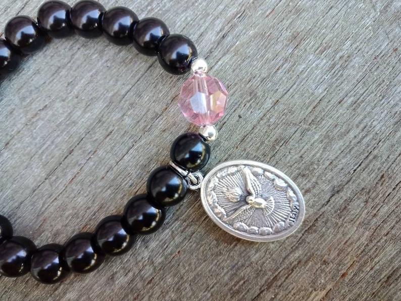 The Holy Spirit Catholic Bracelet Bracelets Catholic Bracelets Holy Spirit Bracelet Beaded Bracelet Crystal Bracelets