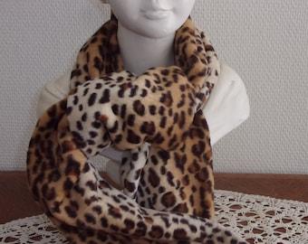 Vintage wool scarf, leopard scarf,
