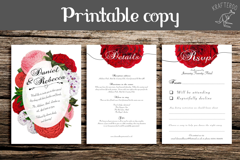 Printable Vintage Peony Rose Wedding Invitation Rosey Hue | Etsy