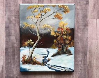 Hand painted acrylic-winter scene-snow-trees