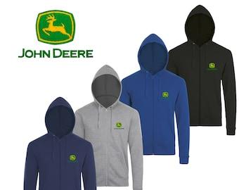John Deere Zip Hoodie EMBROIDERED Auto Car Logo Black Navy Royal Blue Gray  Sweatshirt Jacket Hoody