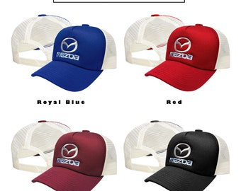 Mazda Trucker Mesh Cap Red Black Rojal Blue Burgundy Baseball Cap  Embroidered Auto Logo Adjustable Snapback Unisex Mens Womens Fans MX5 RX8 a398670c6679