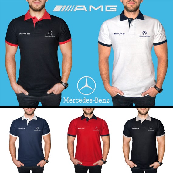 mercedes benz amg polo shirt embroidered cotton auto car. Black Bedroom Furniture Sets. Home Design Ideas